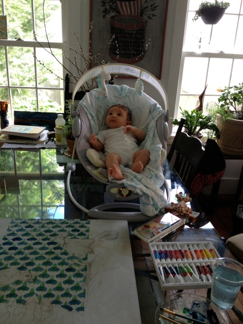 Juniper letting me paint. copyright nikki pilgrim