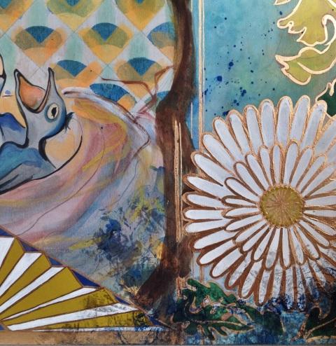 Nikki Pilgrim orginal painting (closeup.) copyright nikkipilgrim